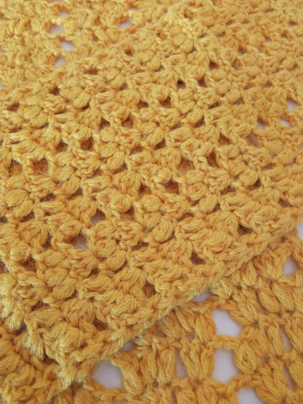 Yellow Alpaca Whool Handmade Scarf Fabric