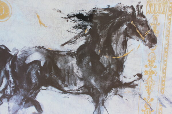 Framed Painting of a Black Horse